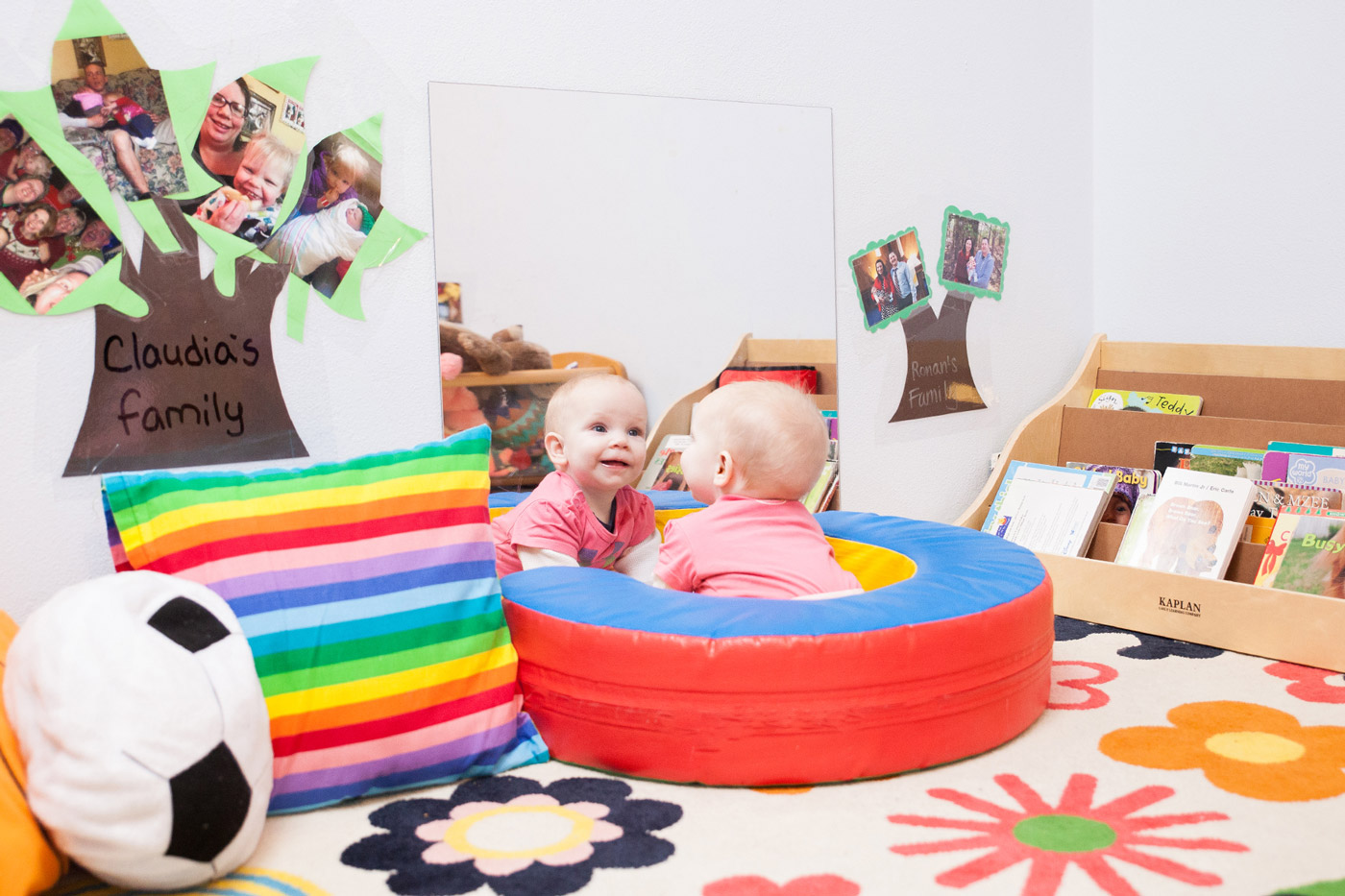 infant mirror play at Community Child Care Center