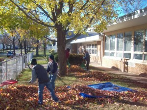 fall community clean up at Community Child Care Center