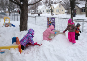 snow play as part of the Creative Curriculum at Community Child Care Center